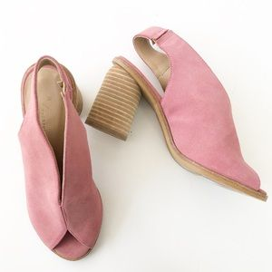 Anthropologie Tracy Pink Suede slingback shooties